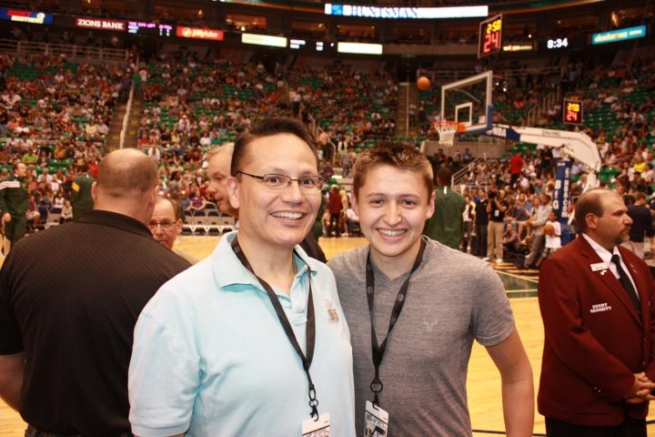 Sam and Dad at Jazz - Magic 2012